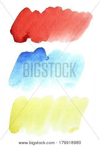 Set of colorful watercolor brush strokes isolated on the white background
