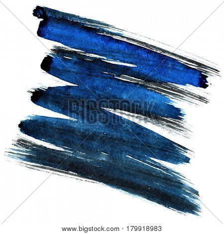 Blue and black zigzag brush stroke isolated on the white background. Element for your design