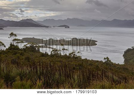Mysterious lake landscape in Tasmania, Lake Pedder