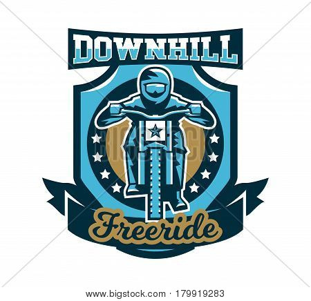 Logo, emblem of the rider riding a mountain bike. Downhill, freeride, extreme sport. Vector illustration