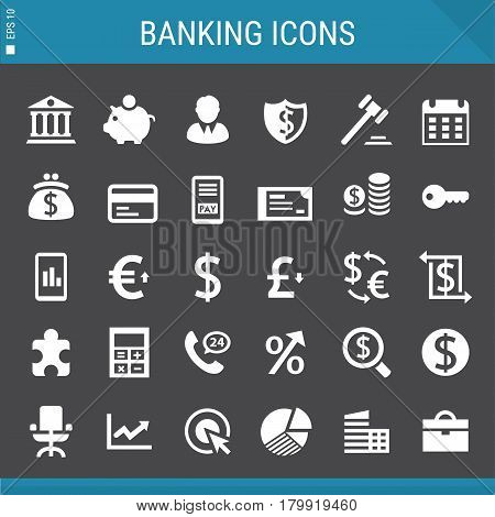 Modern flat design banking and investment icons collection on gray