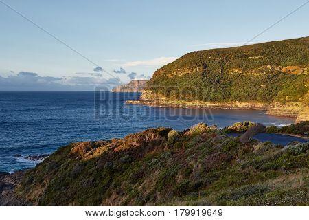 Pristine landscape on Tasman Peninsula, Cape Raoul in the distance