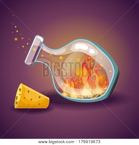 Cartoon vector empty bottles with flame. Game design illustration