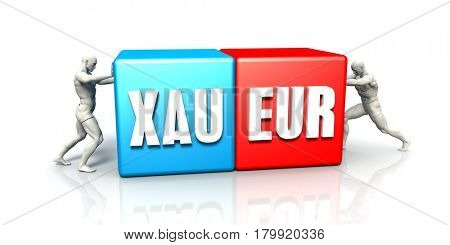 XAU EUR Currency Pair Fighting in Blue Red and White Background 3D Illustration Render