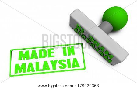 Made in Malaysia Stamp or Chop on Paper Concept in 3d 3D Illustration Render