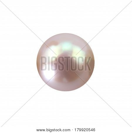 Single lustrous pale pink pearl isolated on white background - Photo