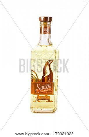 Colbert, WA - April 1, 2017: Sauza Commemorativo Mexican tequila isolated on white, illustrative editorial