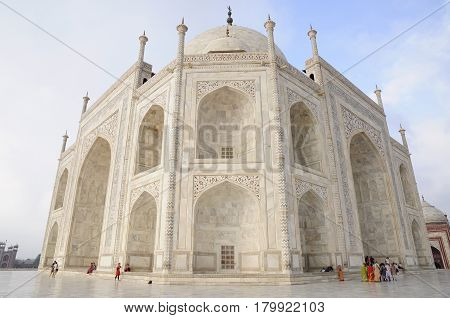 Taj Mahal India, mausoleum with people, the most incredible place in India
