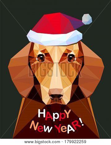 Happy New Year! Card With Dachshund Dog