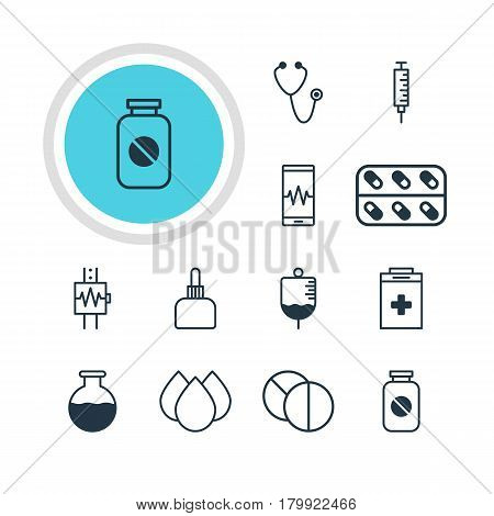 Vector Illustration Of 12 Medical Icons. Editable Pack Of Phone Monitor, Pulse, Trickle And Other Elements.