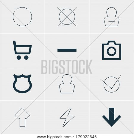 Vector Illustration Of 12 Member Icons. Editable Pack Of Remove User, Yes, Repeat And Other Elements.