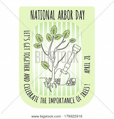 Arbor Day icon. Young oak tree. Vector illustration for  promotion, greeting card and poster.
