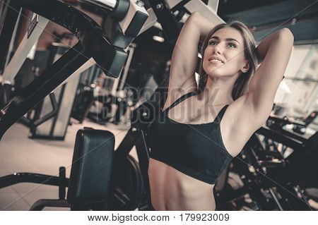 Beautiful Sexy Caucasian Fitness Girl Diet Training Triceps In Gym