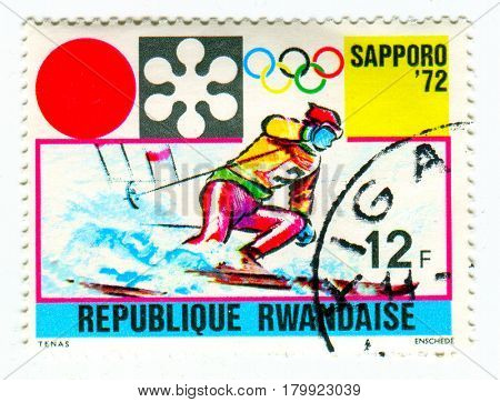 GOMEL, BELARUS, 27 MARCH 2017, Stamp printed in Rwanda shows image of the 1972 Winter Olympics, officially known as the XI Olympic Winter Games, in Sapporo, Hokkaido, Japan, circa 1982.