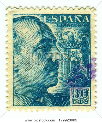 GOMEL, BELARUS, 30 MARCH 2017, Stamp printed in Spain shows Francisco Franco Bahamonde was a Spanish general who ruled over Spain as a military dictator for 36 years, circa 1960.