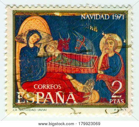 GOMEL, BELARUS, 30 MARCH 2017, Stamp printed in Spain shows Christmas, circa 1971.