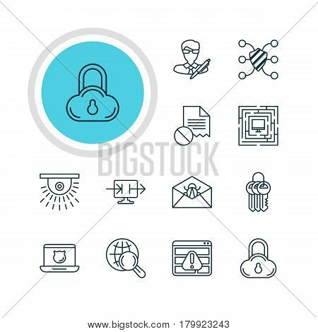Vector Illustration Of 12 Internet Security Icons. Editable Pack Of Safeguard, Camera, Corrupted Mail And Other Elements.
