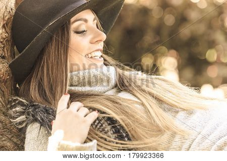 Beautiful Autumnal Woman In Park