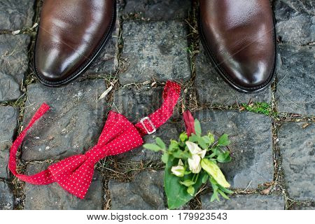 Groom's accessories: brown stylish shoes and red necktie, boutonniere.