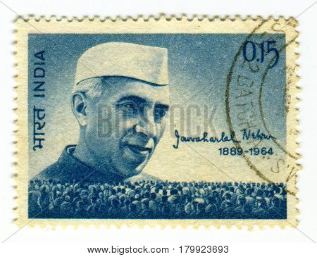 GOMEL, BELARUS, 1 APRIL 2017, Stamp printed in India shows image of the Jawaharlal Nehru was the first Prime Minister of India and a central figure in Indian politics, circa 1964  .