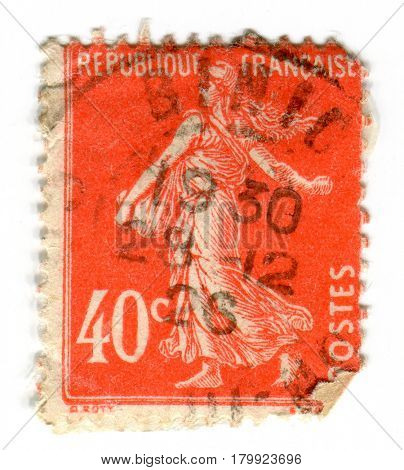 GOMEL, BELARUS, 1 APRIL 2017, Stamp printed in France shows image of the Sower, circa 1930.