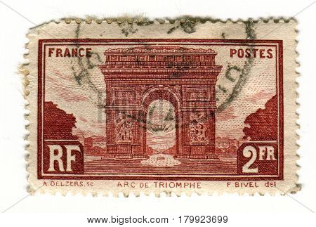 GOMEL, BELARUS, 2 APRIL 2017, Stamp printed in France shows image of The Arc de Triomphe de l'Etoile is one of the most famous monuments in Paris, circa 1928.