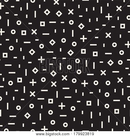 Retro geometric line shapes seamless patterns. Hipster fashion 80-90s design. Abstract jumble textures. Black and white scattered shapes