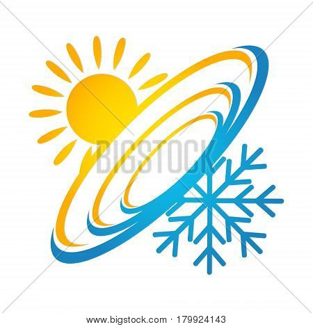 Ventilation and air conditioning design vector icon