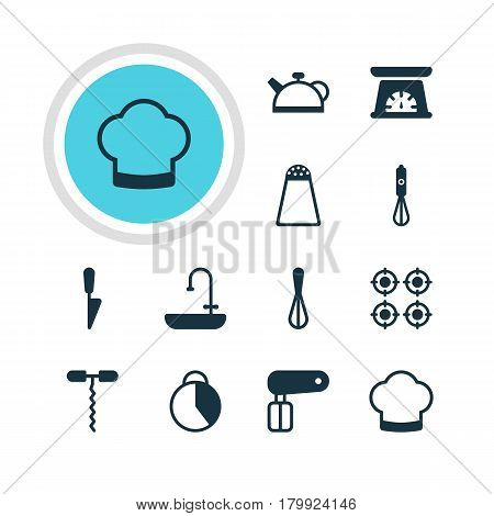 Vector Illustration Of 12 Kitchenware Icons. Editable Pack Of Pepper Container, Chef Hat, Teakettle And Other Elements.
