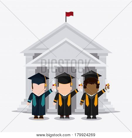 graduation cap diploma building boy male suit cartoon graduate university grad icon. Colorfull and flat illustration. Vector graphic