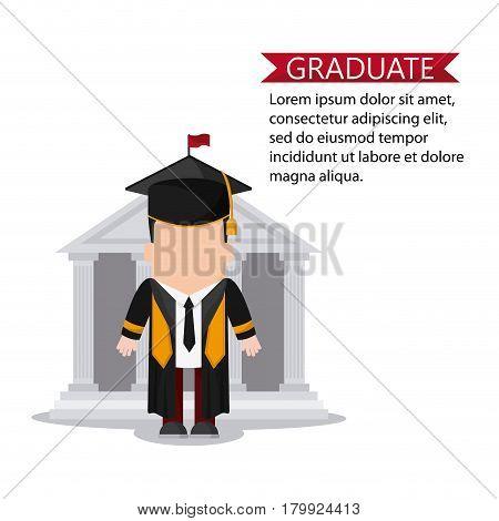 graduation cap building boy male suit cartoon graduate university grad icon. Colorfull and flat illustration. Vector graphic
