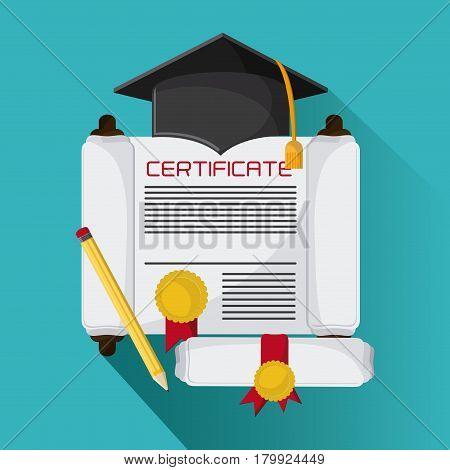 graduation cap diploma pencil graduate university grad icon. Colorfull and flat illustration. Vector graphic