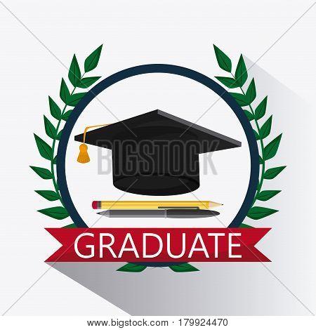 graduation cap wreath pencil pen graduate university grad icon. Colorfull and flat illustration. Vector graphic