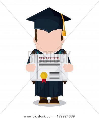 graduation cap boy diploma graduate university grad icon. Colorfull and flat illustration. Vector graphic