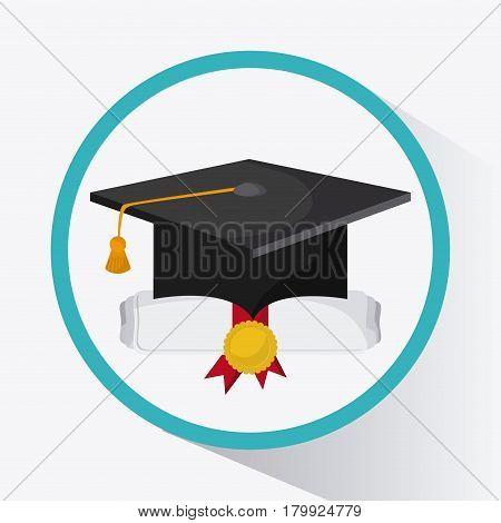 graduation cap graduate university grad icon. Colorfull and flat illustration. Vector graphic