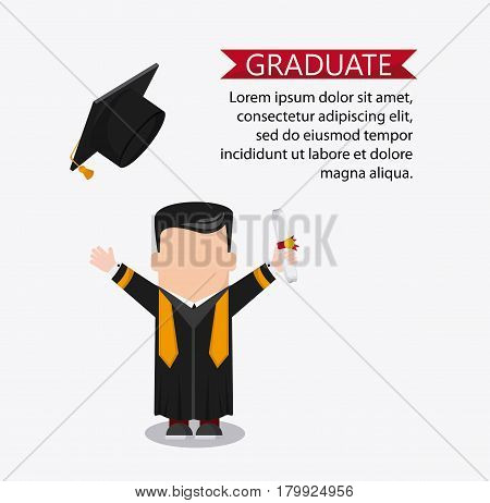graduation cap diploma boy male suit cartoon graduate university grad icon. Colorfull and flat illustration. Vector graphic