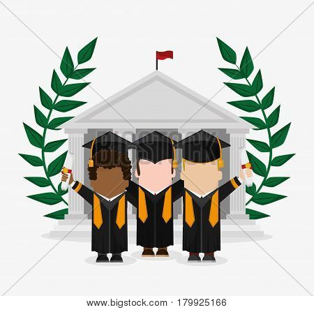 graduation cap wreath diploma boy male suit cartoon graduate university grad icon. Colorfull and flat illustration. Vector graphic