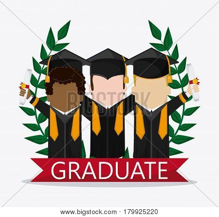 graduation cap wreath diploma boy male suit cartoon graduate university grad icon. Colorfull and flat illustration. Vector graphic