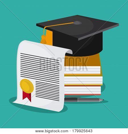 graduation cap diploma book graduate university grad icon. Colorfull and flat illustration. Vector graphic