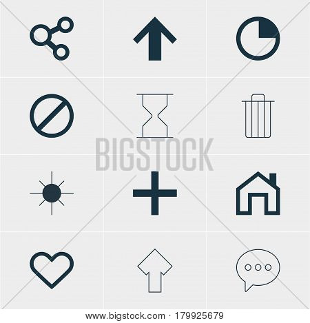 Vector Illustration Of 12 Interface Icons. Editable Pack Of Plus, Full Brightness, Hourglass And Other Elements.