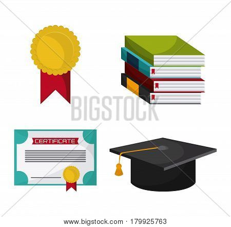graduation cap diploma book seal graduate university grad icon. Colorfull and flat illustration. Vector graphic