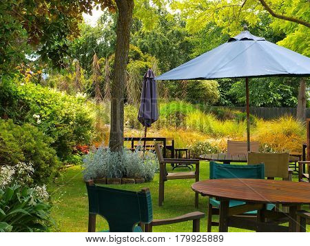 Dining Table In Sunny Garden