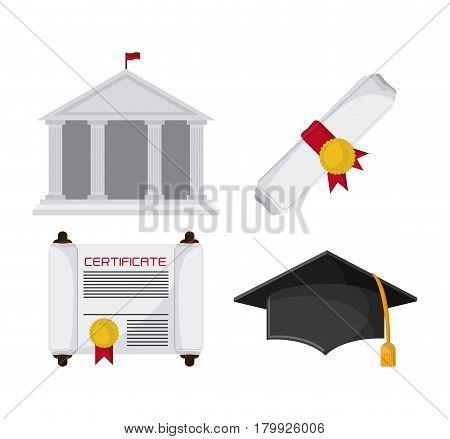 graduation cap diploma building graduate university grad icon. Colorfull and flat illustration. Vector graphic