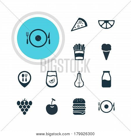 Vector Illustration Of 12 Dish Icons. Editable Pack Of Cruet, Potato, Serving And Other Elements.