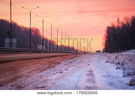 Highway in an evening