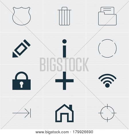 Vector Illustration Of 12 User Icons. Editable Pack Of Dossier, Info, Tabulation Button And Other Elements.