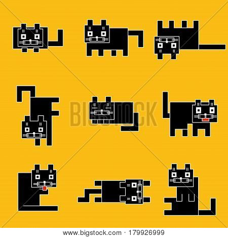 Square black cats emoticons set on a yellow background. Funny cartoon flat cool character. Contour digital drawing cute geometric forms. Cheerful pet collection for web icons and shirt. Isolated vector illustration.