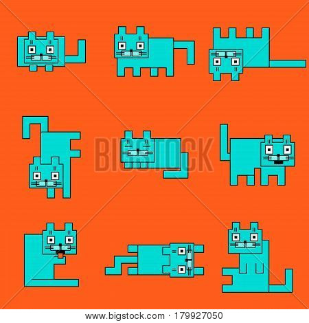 Square turquoise cats on a orange background. Funny cartoon flat cool character. Contour digital drawing cute geometric forms. Cheerful pet collection for web icons and shirt. Isolated vector illustration.