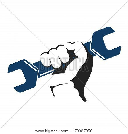 Wrench in hand to repair symbol vector