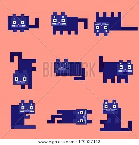 flat corner purple cats on a pink background. vector illustration. funny cartoon flat cool character.